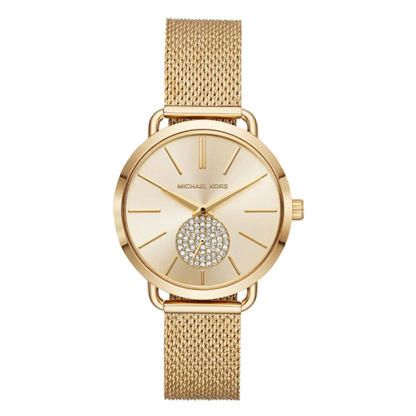 Portia Crystallized Gold Tone Dial Gold Tone Stainless Steel Ladies Watch