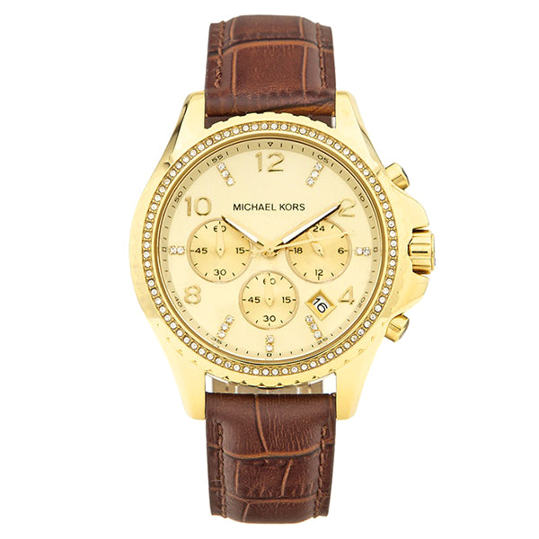 Chronograph Champagne Dial Gold-tone Ladies Watch