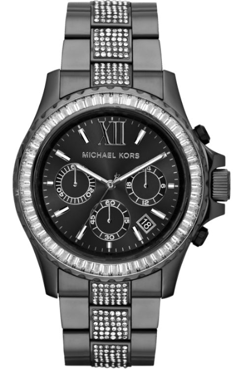Everest Chronograph Black Dial Black Stainless Steel Ladies Watch