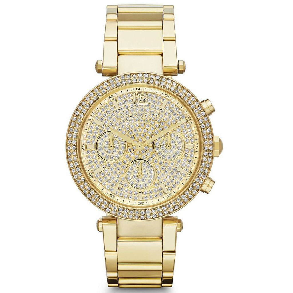 Parker Gold Analog Chrono Glitz Dial Steel Ladies Watch