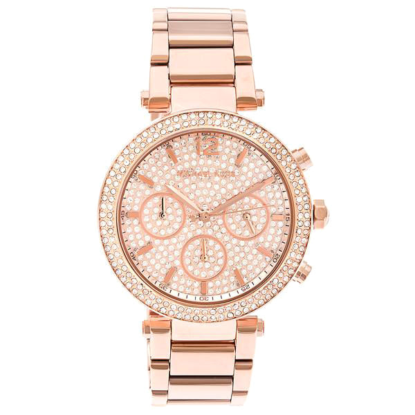 Parker Rose Gold Analog Chrono Glitz Dial Steel Ladies Watch