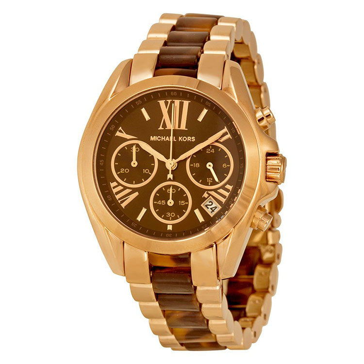 Bradshaw Chronograph Brown Dial Rose Gold-tone and Tortoiseshell Acetate Ladies Watch