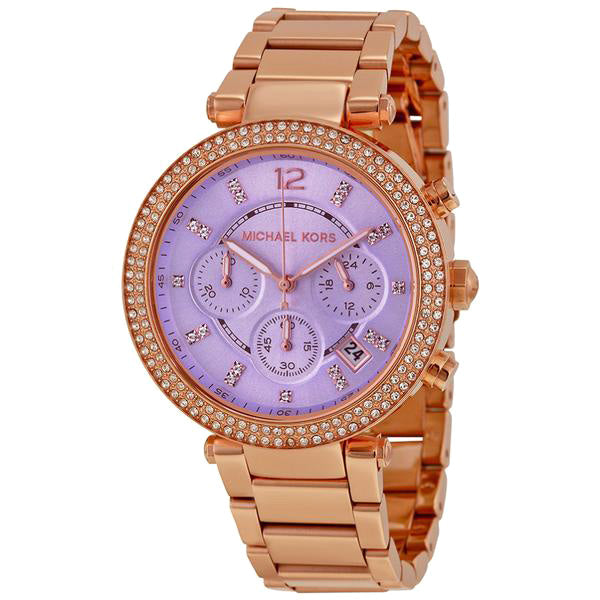 Parker Chronograph Purple Dial Rose Gold-tone Ladies Watch