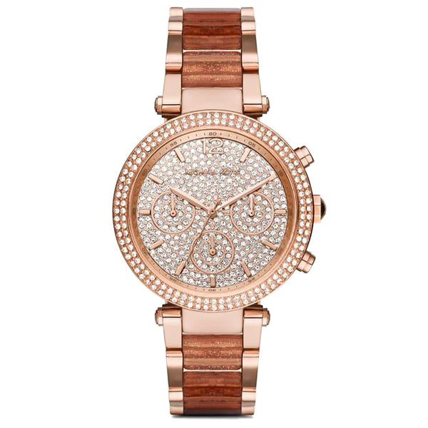 Parker Crystal Pave Dial Chronograph Rose Gold Ladies' Watch