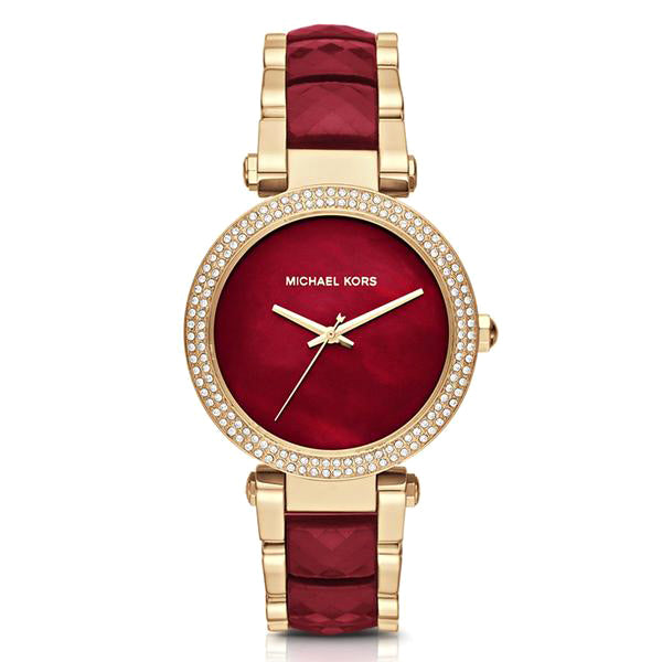 Parker Gold Tone Case Mother Of Pearl Red Dial Tone Ladies Watch