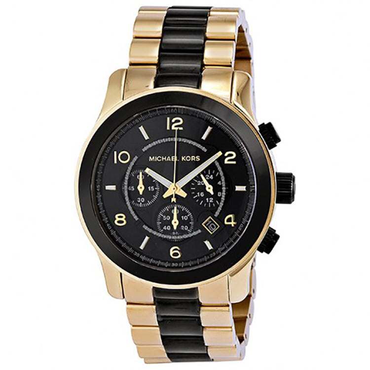 014a23778d21 ... MICHAEL KORS Runway Chronograph Black Dial Gold-Tone Men s Watch ...