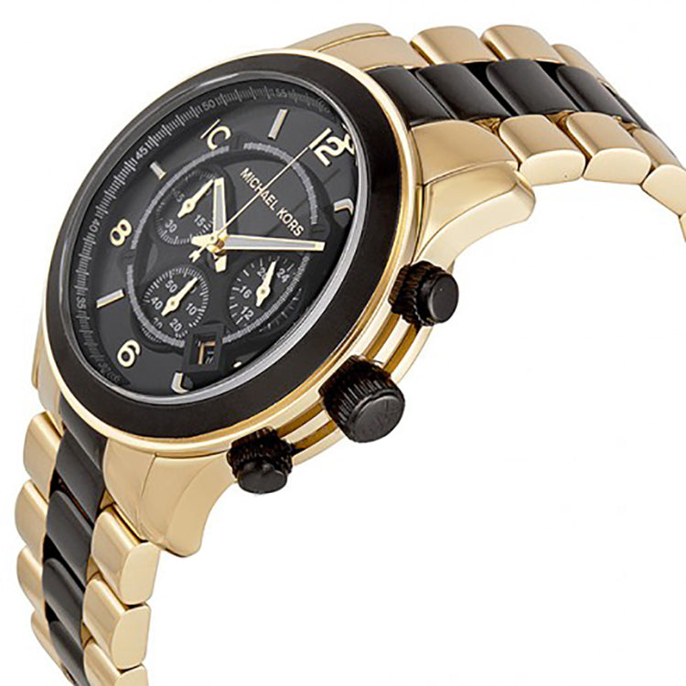 MICHAEL KORS Runway Chronograph Black Dial Gold-Tone Men's Watch