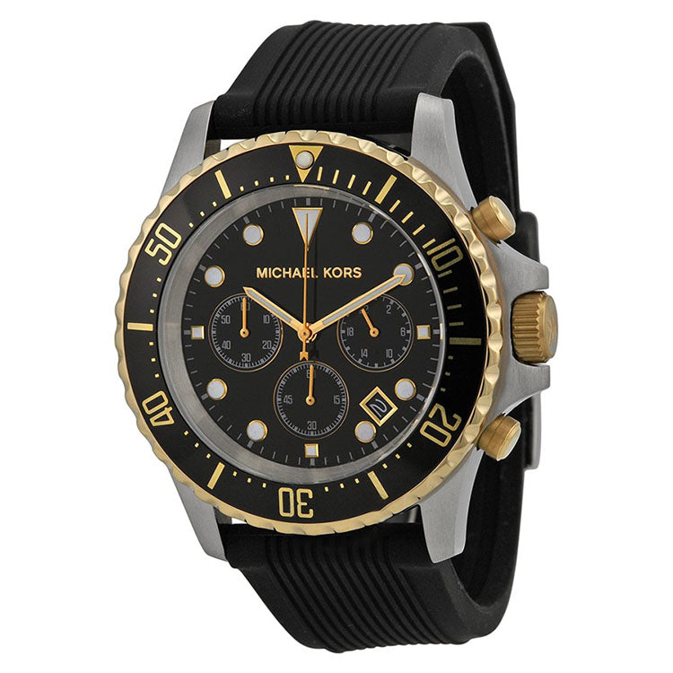 Everest Chronograph Black Dial Black Silicone Men's Watch