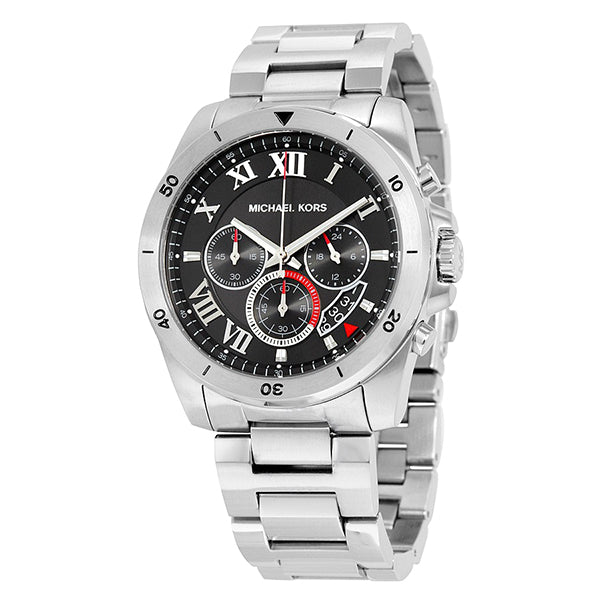 Brecken Chronograph Black Dial Stainless Steel Men's Watch