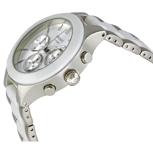 White Dial Chronograph Steel and Ceramic Ladies Watch
