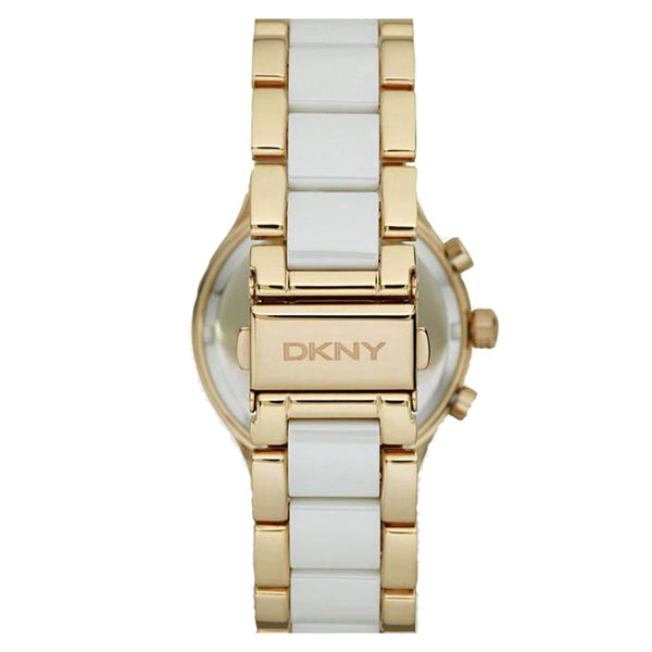 Chronograph White Dial Gold tone and Ceramic Bracelet Ladies Watch