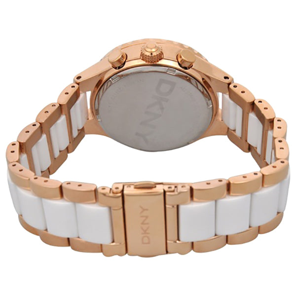 Chronograph White Dial Rose Gold tone and Ceramic Bracelet Ladies Watch