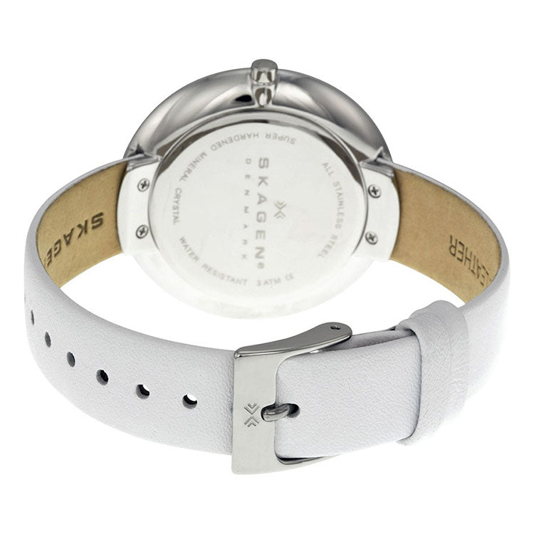 Gitte White Dial White Leather Ladies Watch