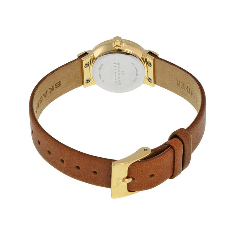 Freja Gold Dial Brown Saddle Leather Ladies Watch