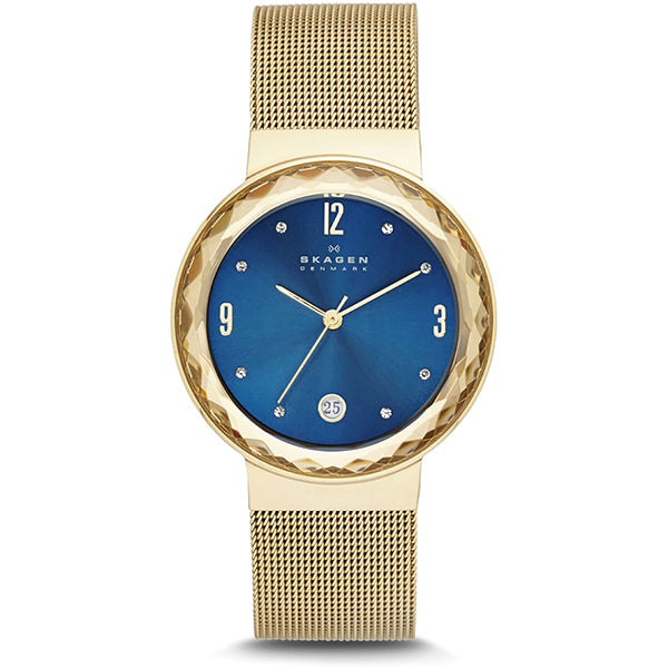 Leonora Blue Dial Gold-plated Ladies Watch