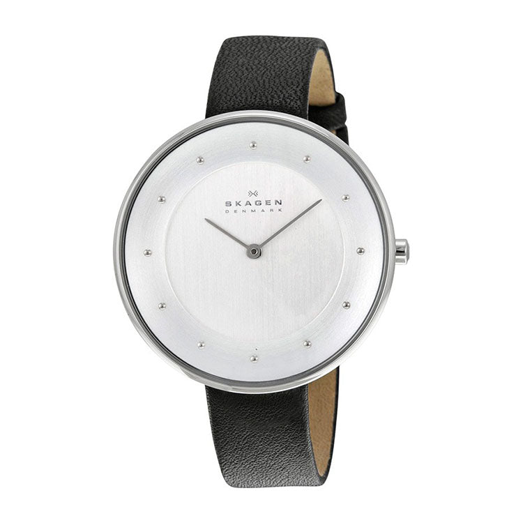 Gitte White Dial Black Leather Strap Ladies Watch