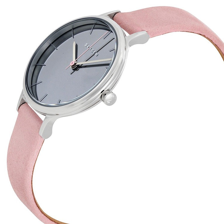 Anita Mirror Gray Dial Ladies Pink Leather Watch