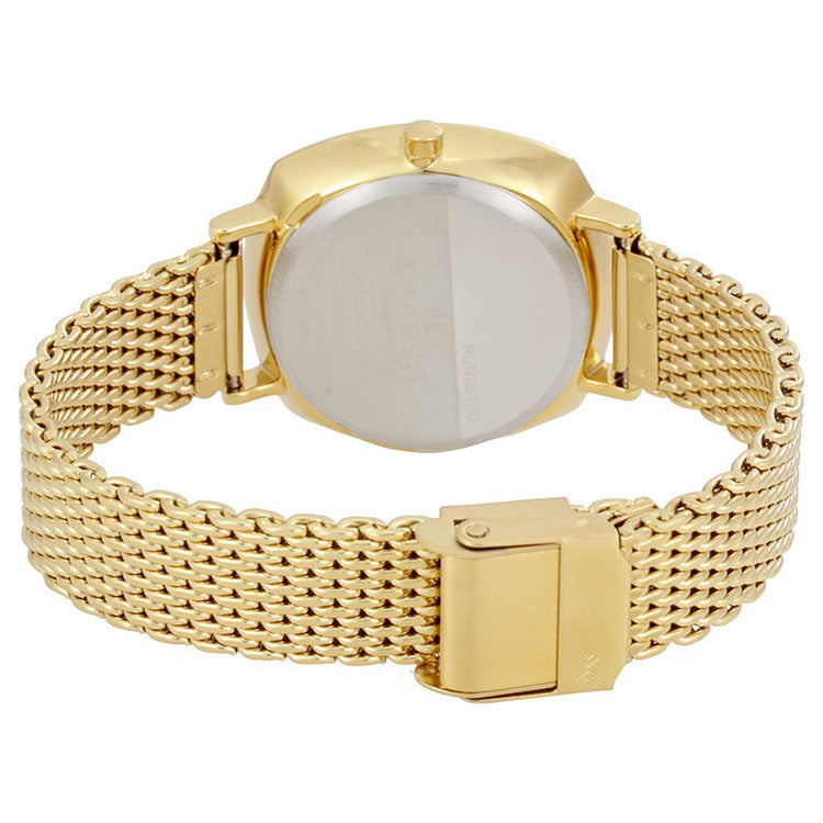 Rungsted White Dial Ladies Gold Tone Watch
