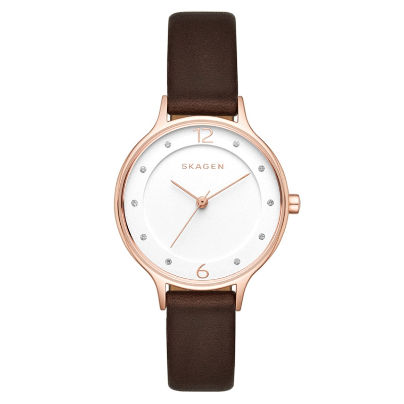 Anita White Dial Dark Brown Leather Strap Ladies Watch