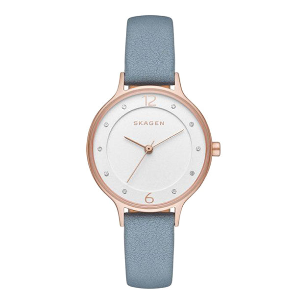Anita Crystal White Dial Blue Leather Strap Ladies Watch