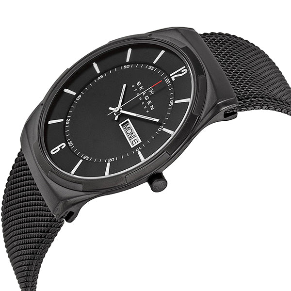 Aktiv Black Dial Black PVD Mesh Men's Watch