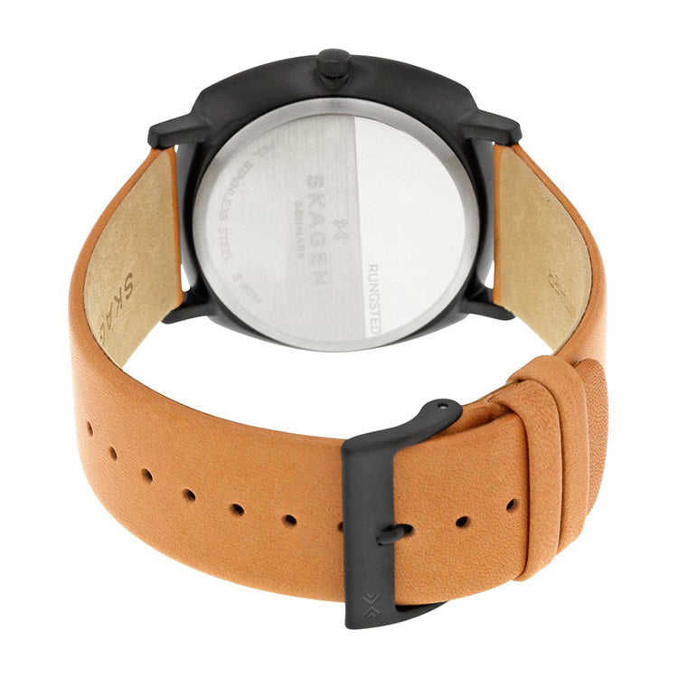 Rungsted Black Dial Tan Leather Men's Watch