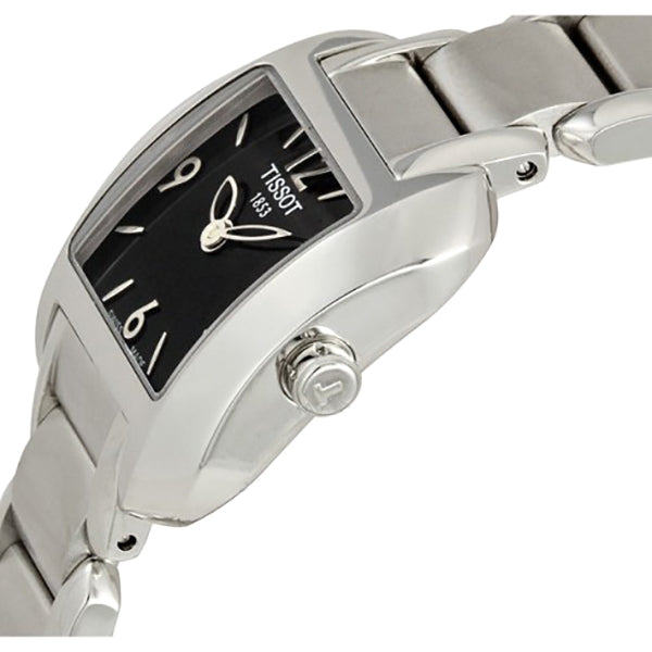 T-Wave Black Dial Stainless Steel Ladies Watch
