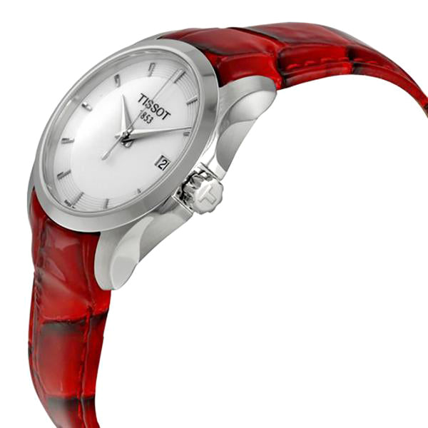 Couturier White Dial Red Leather Ladies Watch