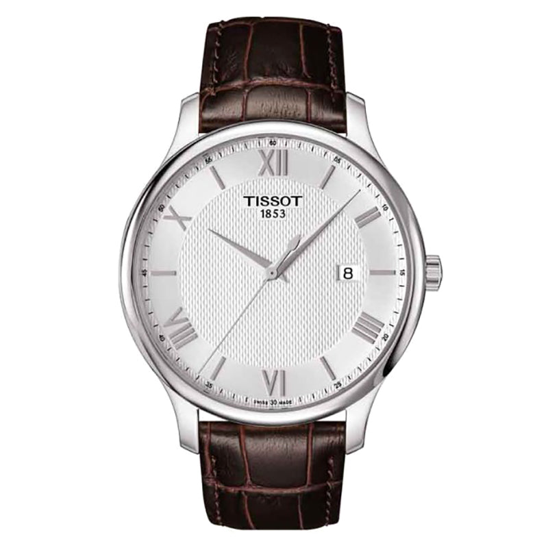 Tradition Silver Dial Brown Leather Men's Watch