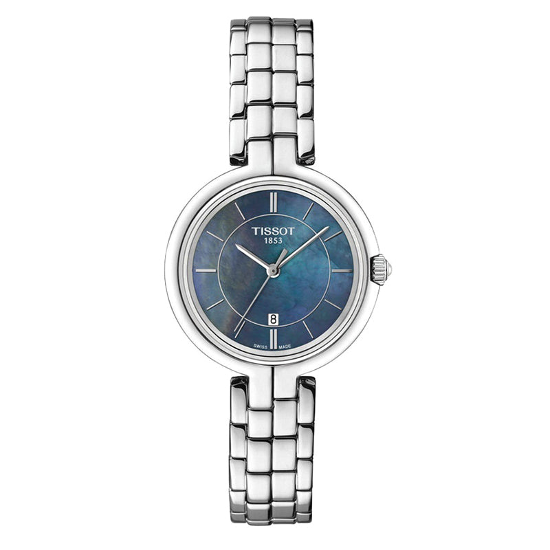 Flamingo Blue Mother of Pearl Dial Stainless Steel Ladies Quartz Watch