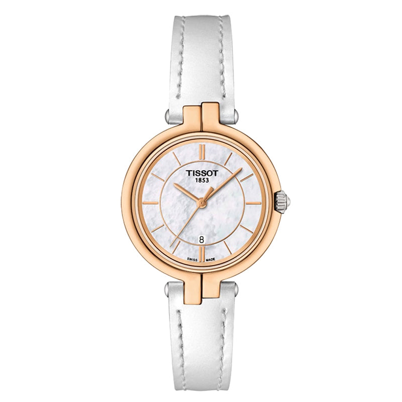 Flamingo White Mother of Pearl Dial Rose Gold Case Ladies Watch