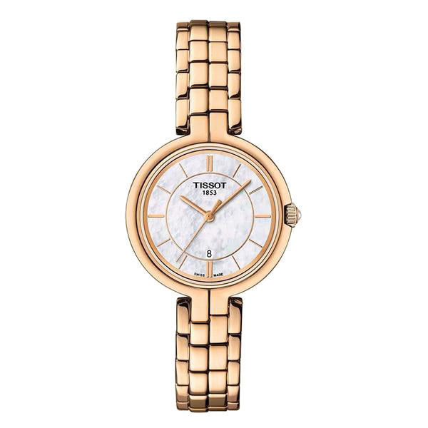 Flamingo Quartz White Mother of Pearl Dial Rose Gold Plated Ladies Watch
