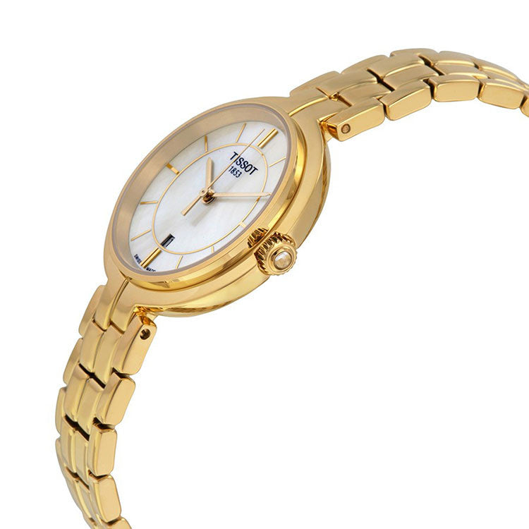 Flamingo Quartz White Mother of Pearl Dial Yellow Gold Plated Ladies Watch