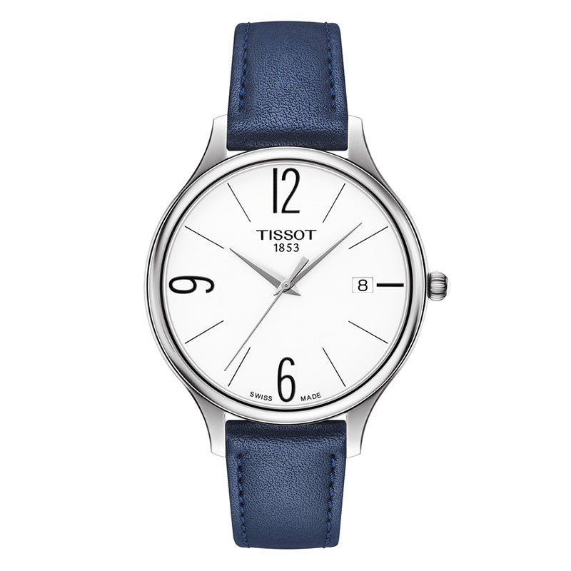 Bella Ora White Dial with Blue Leather Strap Watch