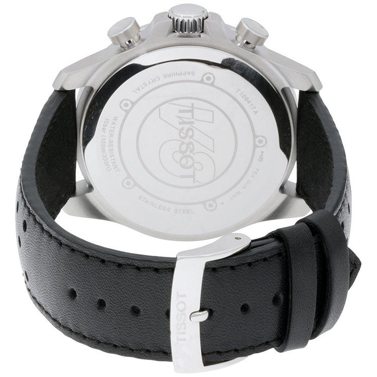 V8 Black Dial Chronograph Black Leather Men's Watch