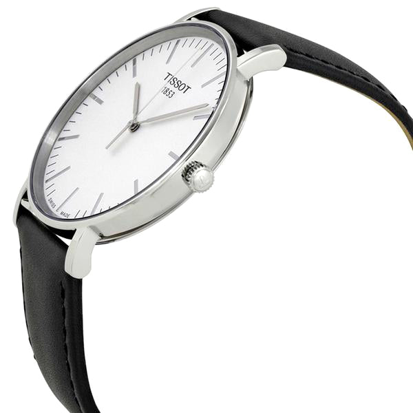 Everytime Silver Dial Leather Men's Watch