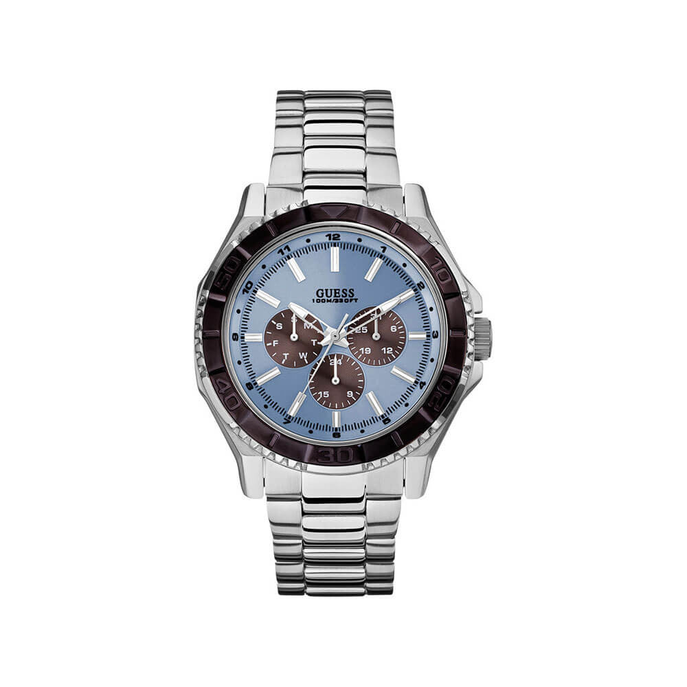 MultiFunction Stainless Steel Blue Dial Men's Watch