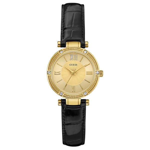 Gold Dial Black Leather Ladies' Watch