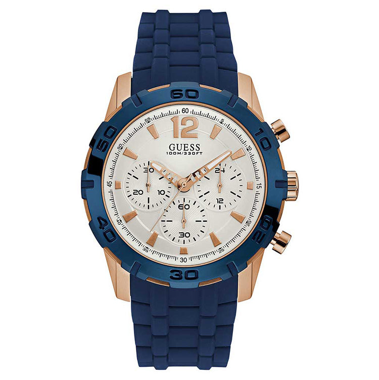 Caliber Multi-Function White Dial Blue Silicone Strap Men's Watch