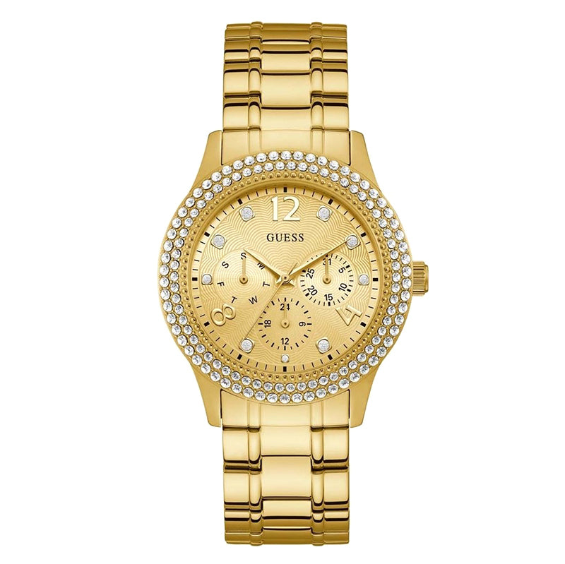 Bedazzle Gold Tone Stainless Steel Gold Dial Ladies Watch