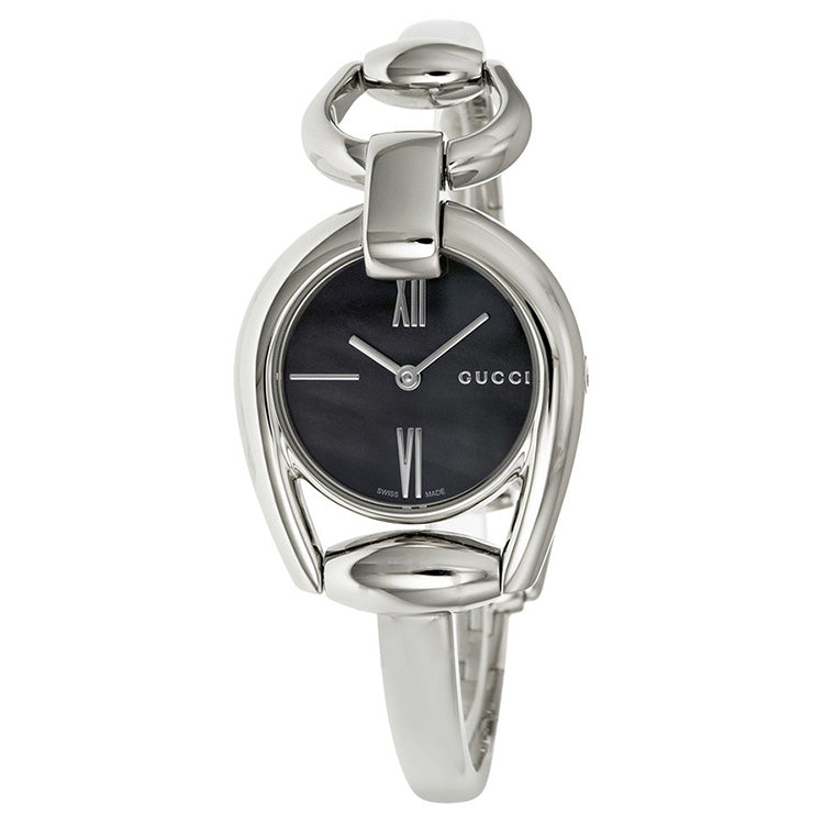 Horsebit Collection Black Mother of Pearl Dial Stainless Steel Ladies Watch