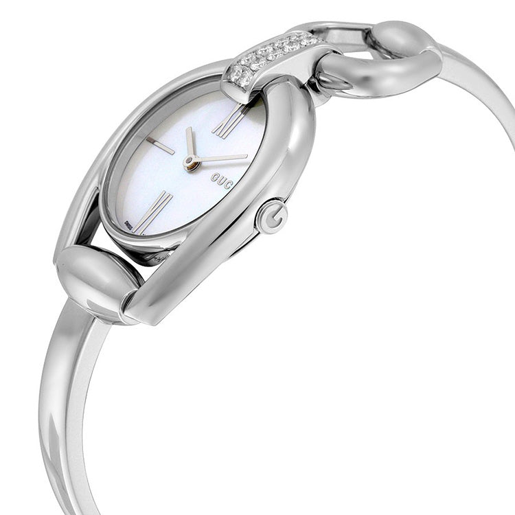Horsebit Small Whte Mother of Pearl Dial Ladies Watch