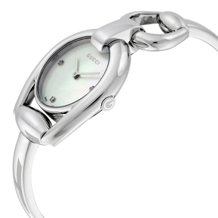 Horsebit Collection Mother of Pearl Dial Stainless Steel Ladies Watch