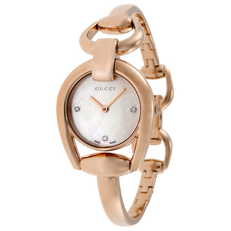 Horsebit Mother of Pearl Dial Rose Gold PVD Ladies Watch
