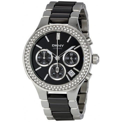 Black Dial Chronograph Steel and Ceramic Ladies Watch