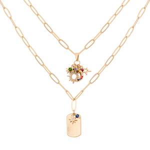 Dogtag 2 row Necklace (gold)
