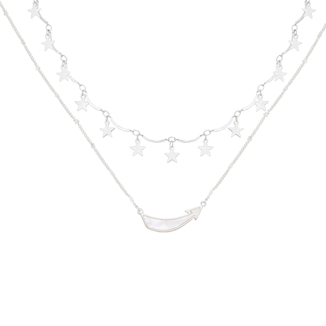 Shoot For The Stars Layered Necklace set (silver)