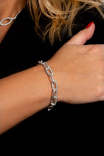 Load image into Gallery viewer, Large Chunky Chain Bracelet with encrusted pave links in Silver