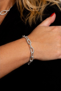 Large Chunky Chain Bracelet with encrusted pave links in Silver
