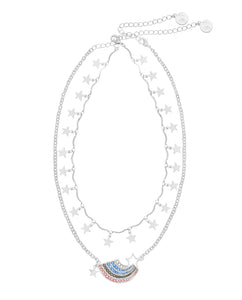 Somewhere over the Rainbow 2 row necklace (silver)